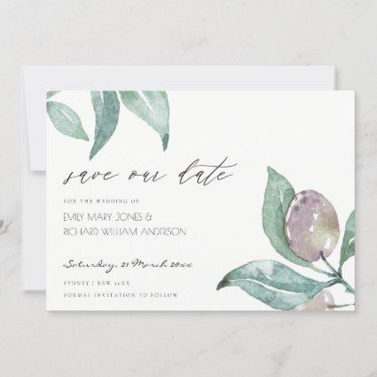 BLUE GREEN WATERCOLOUR FOLIAGE OLIVE SAVE THE DATE
