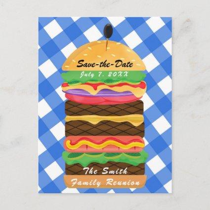 Blue Hamburger Summer Cookout Barbecue BBQ Party Announcement