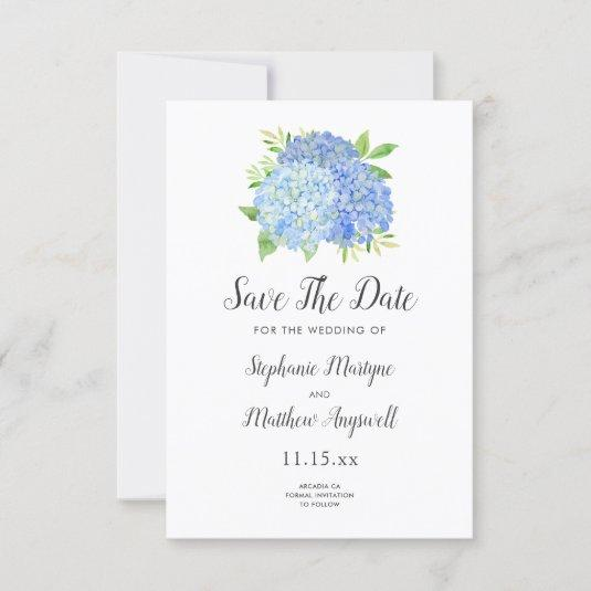 Blue Hydrangea Floral Watercolor Wedding Save The Date