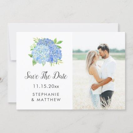 Blue Hydrangea Floral Wedding Photo Save The Date