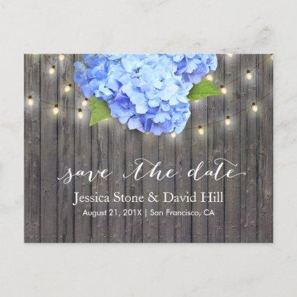 Blue Hydrangea & String Lights Wood Save the Date Announcement