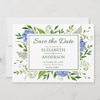 Blue Hydrangeas Floral Watercolor Save The Date