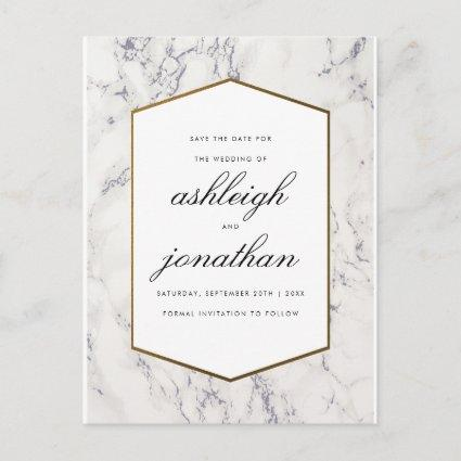 Blue Marble & Gold Border | Save The Date Announcement
