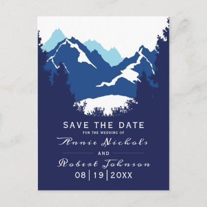 Blue mountain winter wedding Save the Date Announcement