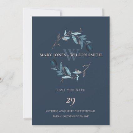 BLUE NAVY PINK FOLIAGE WREATH SAVE THE DATE CARD