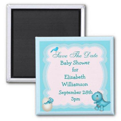 Blue New Born Dinosaur Save The Date Baby Shower Magnet