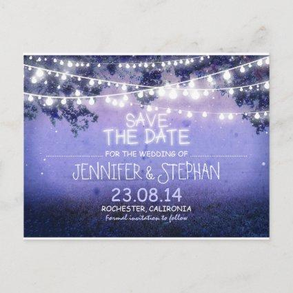 blue night lights romantic save the date announcement