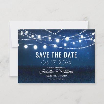 Blue Night & Silver String Lights Save the Date