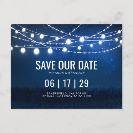 Blue Night & Silver String Lights Save the Date Announcement