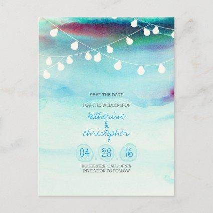 blue ombre watercolor beach save the date Announcements Cards