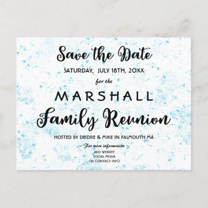 Blue Paint Splatter Family Reunion Save the Date Announcement
