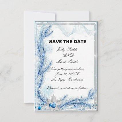 Blue Pine Winter Christmas Save The Date Card