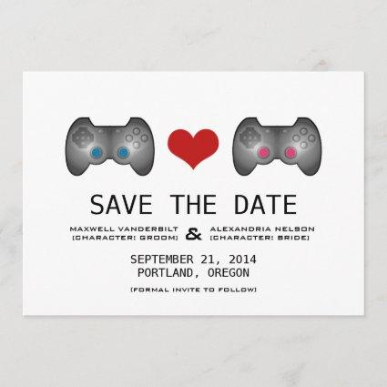 Blue Pink Cute Gamer Save the Date Invite