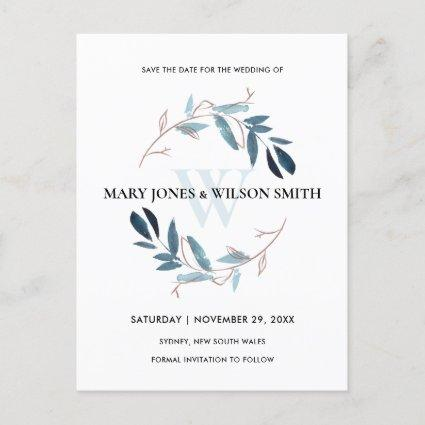 BLUE PINK WATERCOLOR FOLIAGE WREATH SAVE THE DATE ANNOUNCEMENT