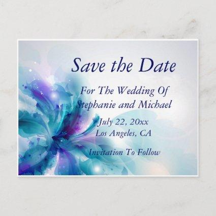 Blue & Purple Abstract Floral Save the Date Card