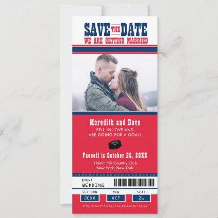 Blue Red Hockey Ticket Wedding Save the Date
