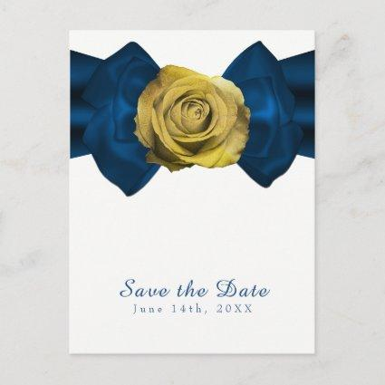 Blue Ribbon  & Yellow Rose Save the Date ANY COLOR Announcement