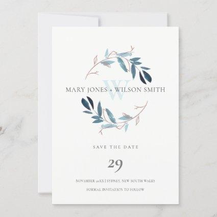 BLUE ROSE GOLD FOLIAGE WREATH SAVE THE DATE CARD