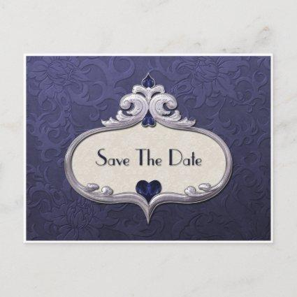Blue Sapphire Jewel Hearts on Blue Damask Save The Announcement