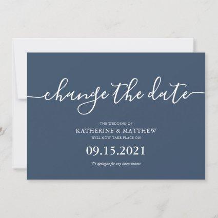 Blue Script Typography Change the Date Wedding Save The Date