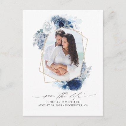 Blue Shades Flowers Save the Date Photo Announcement