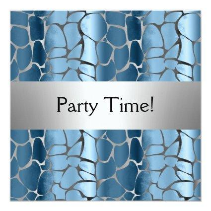 Blue Silver Birthday Party Personalized Cards