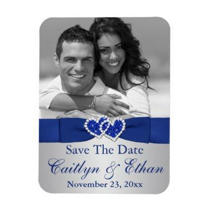 Blue, Silver Hearts Save the Date Magnets