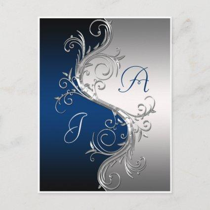 Blue Silver Ornate Swirls Save The Date Announcement