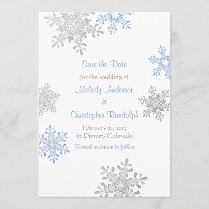 Blue Silver Snowflake Winter Wedding Save the Date