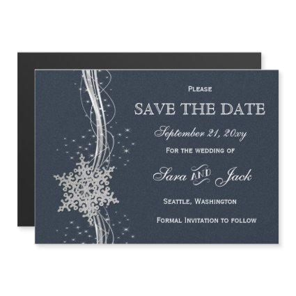Blue Silver Snowflakes Winter  save the date Magnetic Invitation
