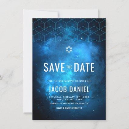 Blue Space Galaxy Bar Mitzvah Save The Date
