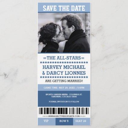 Blue Sports Ticket Save the Date