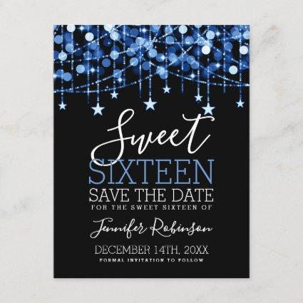 Blue Sweet 16 Sparkly String Lights Save Date Save The Date