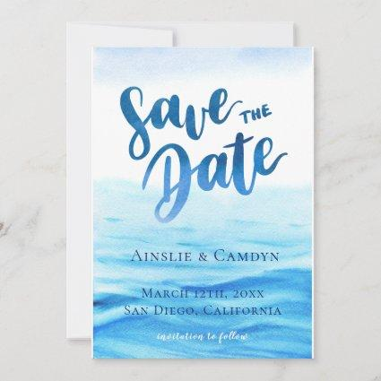 Blue Tides Watercolor Save The Date Photo