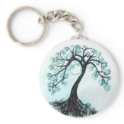 Blue Tree Save the Date Stickers Keychain
