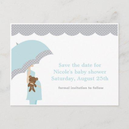 Blue Umbrella Baby Shower Save the Date Announcements Cards