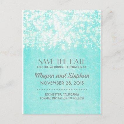 blue vintage string lights save the date announcement
