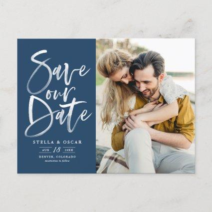 Blue Watercolor Brush Calligraphy Save Our Date Announcement