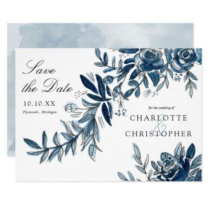 blue watercolor flowers save the date invitation