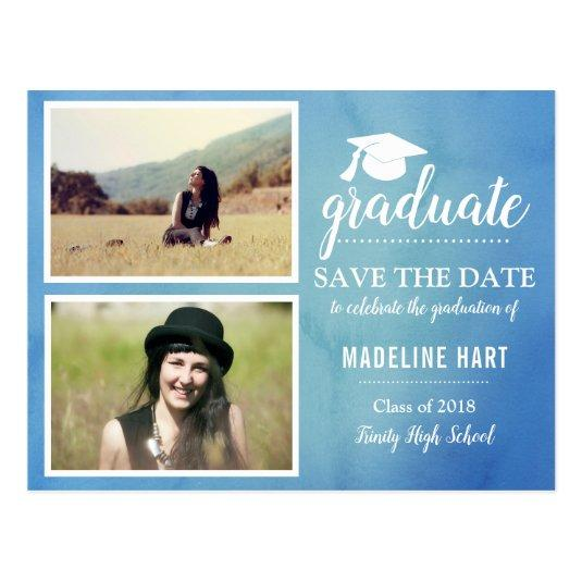 Blue Watercolor | Graduate | Save The Date Photo Cards