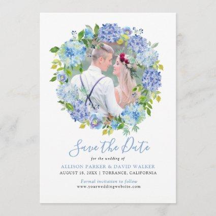 Blue Watercolor hydrangea Photo Save the Date Cards