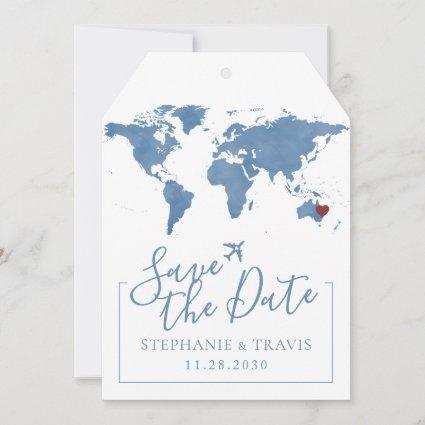 Blue Watercolor Map Save the Date Luggage Tag