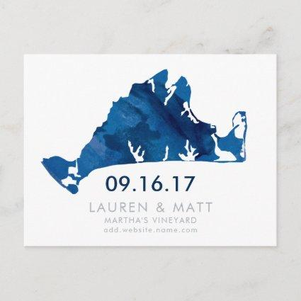 Blue Watercolor Martha's Vineyard Save the Date Announcement