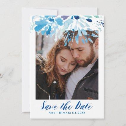 Blue Watercolor Save The Date Photo Announcement