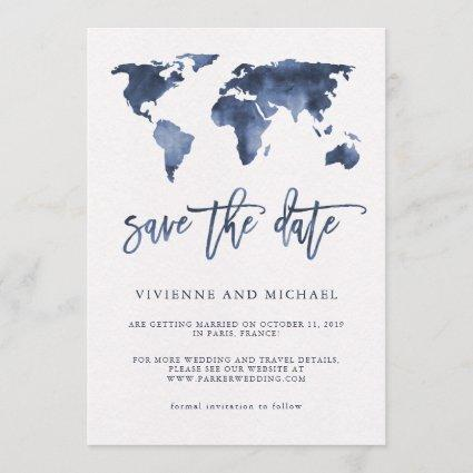 Blue Watercolor World Map | Wedding Save the Date
