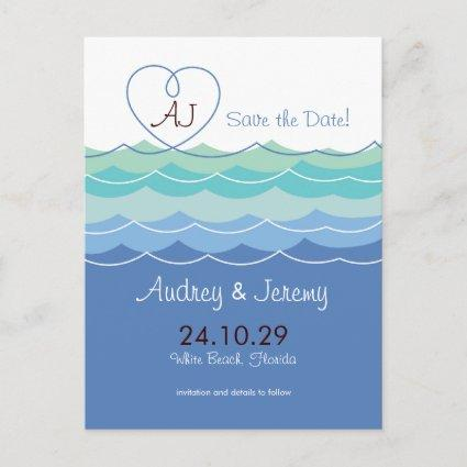Blue Waves Loopy Heart Beach Modern Save The Date Announcement