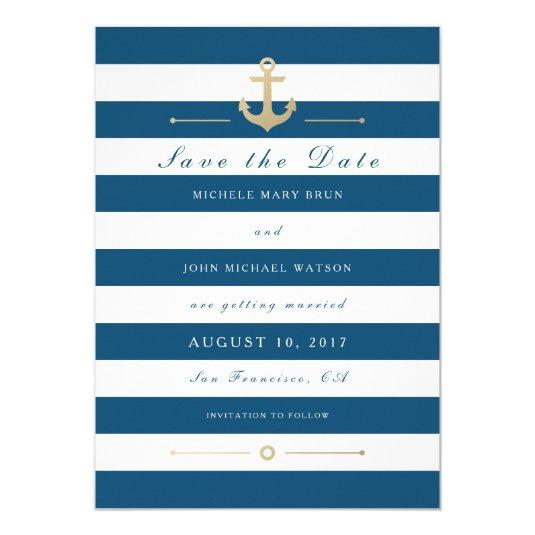 Blue White Nautical Save The Date Flat Card