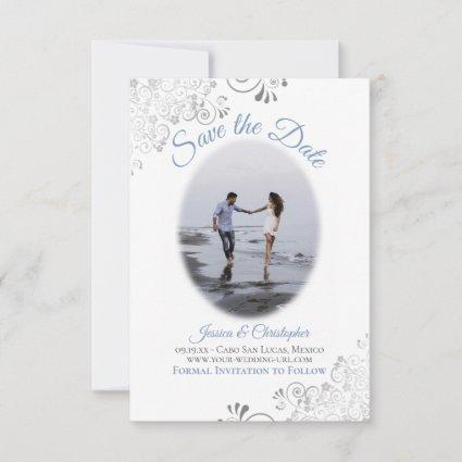 Blue & White Simple Elegant Wedding Oval Photo Save The Date