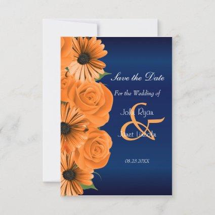 Blue with Orange Rose & Daisy Save The Date
