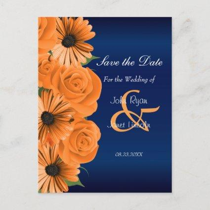 Blue with Orange Rose & Daisy - Save The Date Announcement
